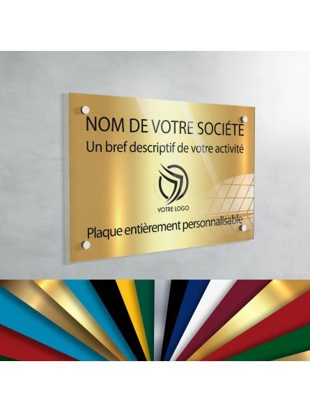 Plaque professionnelle en plexiglas fond Or à personnaliser   30 x 20 cm
