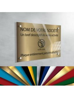 Plaque professionnelle en plexiglas fond Vieil Or à personnaliser | 30 x 20 cm