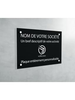 Plaque Professionnelle PVC - Plaque Gravée À Personnaliser 20 x 15 cm (Noir)