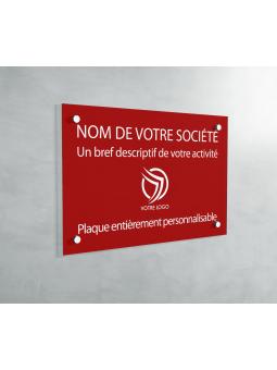 Plaque Professionnelle PVC - Plaque Gravée À Personnaliser 20 x 15 cm (Rouge)