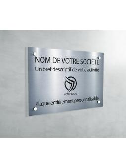 Plaque Professionnelle PVC - Plaque Gravée À Personnaliser 20 x 15 cm (Gris Alu Brillant)