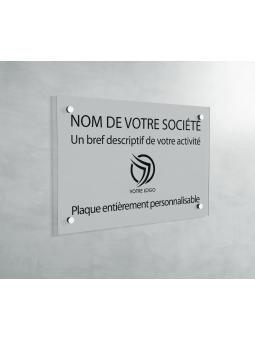 Plaque Professionnelle PVC - Plaque Gravée À Personnaliser 20 x 15 cm (Gris Mat)