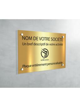 Plaque Professionnelle PVC - Plaque Gravée À Personnaliser 20 x 15 cm (Or Brillant)