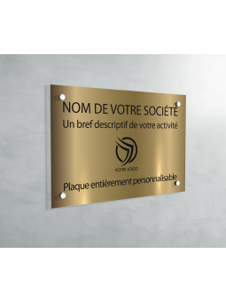 Plaque Professionnelle PVC - Plaque Gravée À Personnaliser 20 x 15 cm (Or Mat)
