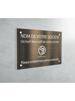 Plaque Professionnelle PVC - Plaque Gravée À Personnaliser 20 x 15 cm (Bronze txt Blanc)