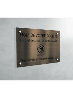 Plaque Professionnelle PVC - Plaque Gravée À Personnaliser 20 x 15 cm (Bronze txt Noir)