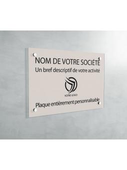 Plaque Professionnelle PVC - Plaque Gravée À Personnaliser 20 x 15 cm (Beige)