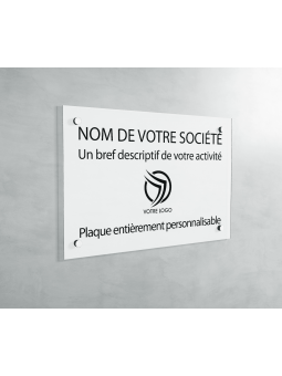 Plaque Professionnelle PVC - Plaque Gravée À Personnaliser 20 x 15 cm (Blanc txt Noir)