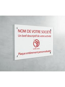 Plaque Professionnelle PVC - Plaque Gravée À Personnaliser 20 x 15 cm (Blanc txt Rouge)