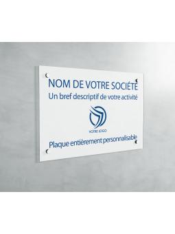 Plaque Professionnelle PVC - Plaque Gravée À Personnaliser 20 x 15 cm (Blanc txt Bleu)