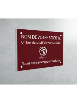 Plaque Professionnelle PVC - Plaque Gravée À Personnaliser 20 x 15 cm (Bordeaux)