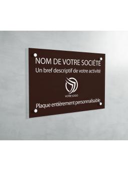Plaque Professionnelle PVC - Plaque Gravée À Personnaliser 20 x 15 cm (Marron)