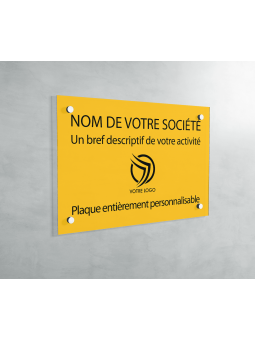 Plaque Professionnelle PVC - Plaque Gravée À Personnaliser 20 x 15 cm (Jaune)