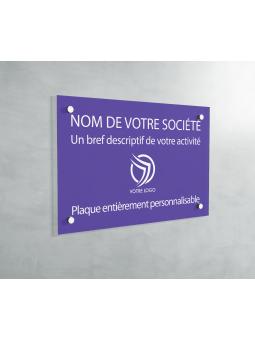 Plaque Professionnelle PVC - Plaque Gravée À Personnaliser 20 x 15 cm (Violet)