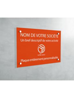Plaque Professionnelle PVC - Plaque Gravée À Personnaliser 20 x 15 cm (Orange)