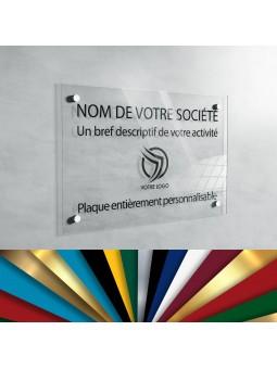 Plaque Professionnelle Plexiglas - Plaque Imprimée À Personnaliser 20 x 15 cm (Transparent)