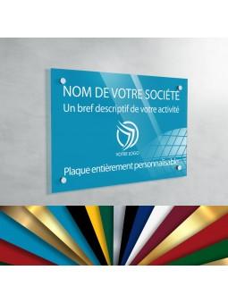 Plaque Professionnelle Plexiglas - Plaque Gravée À Personnaliser 20 x 15 cm (fond Bleu Ciel)