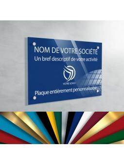 Plaque Professionnelle Plexiglas - Plaque Gravée À Personnaliser 20 x 15 cm (fond Bleu Medium)
