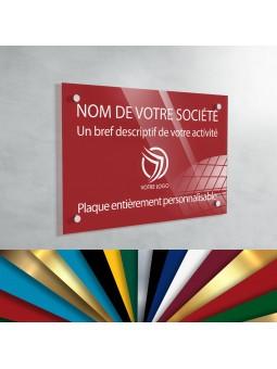 Plaque Professionnelle Plexiglas - Plaque Gravée À Personnaliser 20 x 15 cm (fond Rouge)