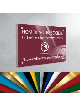 Plaque Professionnelle Plexiglas - Plaque Gravée À Personnaliser 20 x 15 cm (fond Bourgogne)