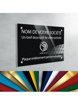 Plaque Professionnelle Plexiglas - Plaque Gravée À Personnaliser 20 x 15 cm (fond Noir)