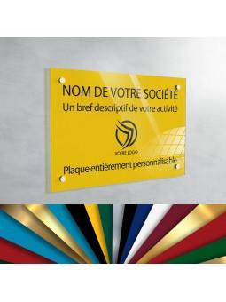 Plaque professionnelle en plexiglas fond Jaune à personnaliser | 30 x 20 cm